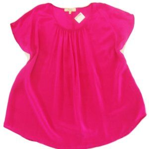 Royal Project 100% Silk Blouse XL bright pink top
